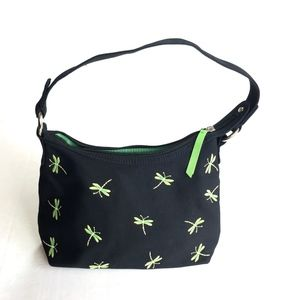 Talbots Black Green Dragonfly Embroidered Purse